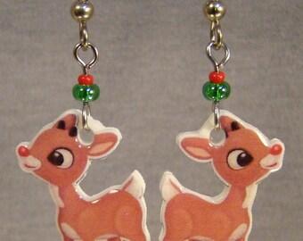 Rudolph the Red Nosed Reindeer Dangle Earrings - Christmas Movie Jewelry - Nostalgic Cartoon Jewellery