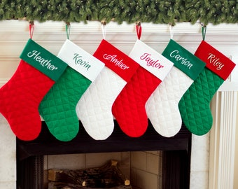 personalized christmas stocking quilted christmas stocking red green white quilted christmas stockings - Red And Green Christmas Stockings