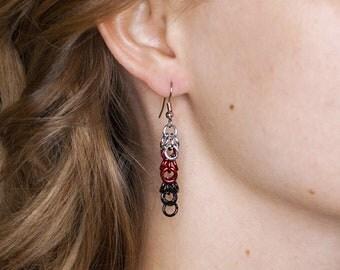 67's Earrings, Chainmail Earrings, Ottawa Ontario, Hockey Fan Earrings, White Red Black, Hockey Fan Gear, Atlanta, Falcons Jewelry, NFC