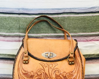 50's Vintage Hand Tooled Leather Purse