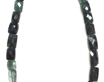 Green and Blue Tourmaline Faceted Rectangles-7xmm