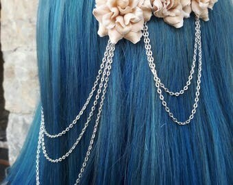 Bridal headpiece - boho wedding - floral heapiece chains