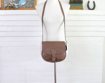 Vintage Coach Bag // Coach Saddle Bag NYC Putty Tan // Coach Saddlery Crossbody Purse Hangbag