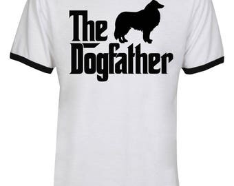 The Dogfather Rough Collie Shirt - The Dog Father Rough Collie Shirt - Rough Collie - Dog Dad - Men Unisex Ringer Tee T-Shirt - IZRSUB176