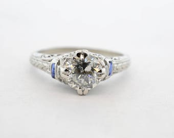 Platinum Art Deco .91ct I1/G Old Euro Diamond and Synthetic Sapphire Ring- Size 6