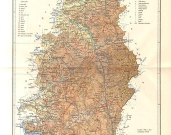 1895 Krassó-Szörény County, Austro-Hungarian Monarchy Original Antique Dated Map