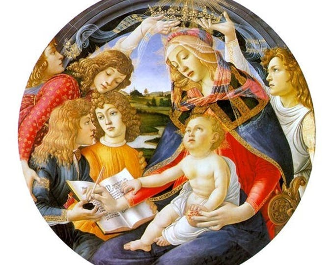 """Madonna of the Magnificat, Sandro Botticelli, 5"""" x 7"""" Christmas Card w/Envelope, Blank Inside, Religious Christmas Card, Madonna and Child"""