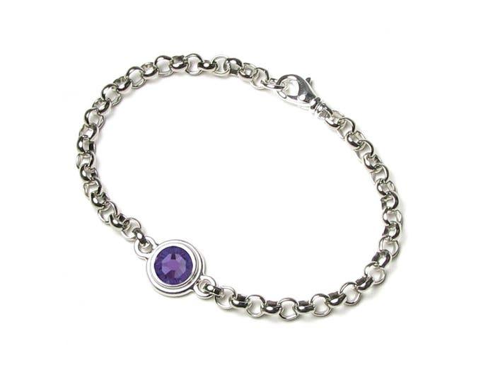 December Purple Tanzanite Round Swarovski Crystal Silver Birthstone Bracelet Personalized Birth Month Jewelry Fine Birthday Gifts Women Teen