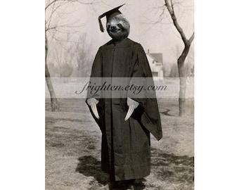 Sloth Art Print, Sloth Graduation, 5x7 Inch Matted Print, Animal Wall Decor, Graduation Gift, Anthropomorphic Art