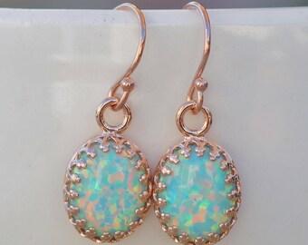 NEW RoSE GOLD Seafoam Opal Earrings,Lab Created Mint Green Opal Gemstone Earrings,Dangle Drop Earring,Rose Gold Crown Setting,Birthstone
