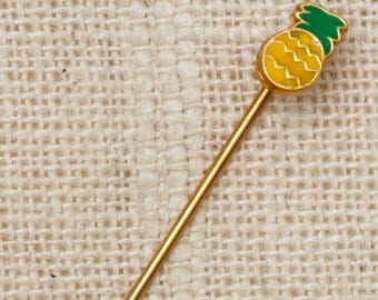 Pineapple Stick Pin Gold Yellow Green Vintage Stickpin 7R