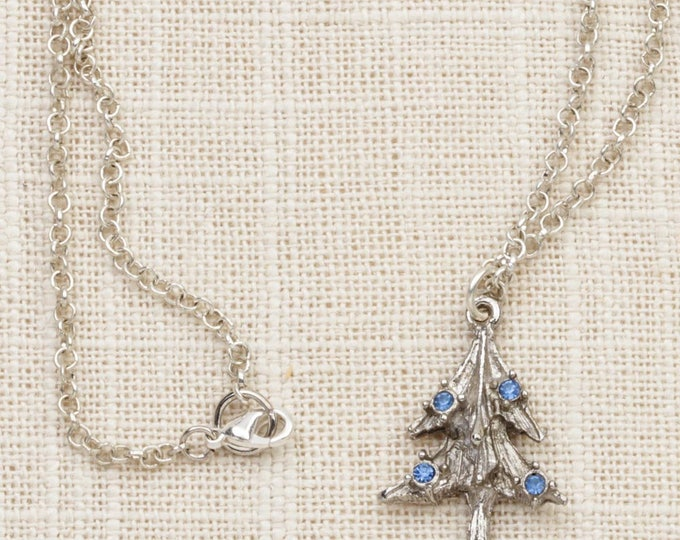 Pine Tree Necklace Vintage Silver Blue Rhinestones Christmas Evergreen Chain Costume Jewelry 7L