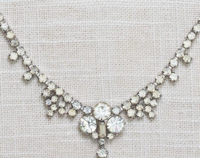Rhinestone Vintage Necklace Bib Dangle Crystal & Silver Costume Jewelry 7AA 7