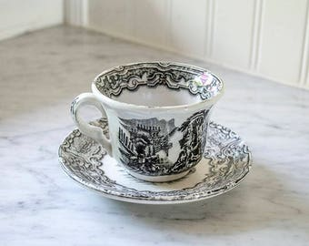 Antique Black Transferware Ironstone Cup and Saucer Set