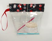 Medium Red and Black Yarn and Knitting Needles Flat Bottom Wedge Snap Clear Vinyl See-Through Storage Pouch S346
