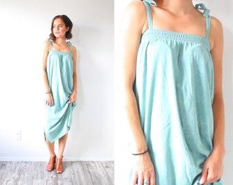 Vintage boho mint floral green dress // mint blue swim cover up dress // boho sleeveless hippie spaghetti strap dress / Medium summer spring