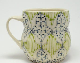 Handmade Wheel Thrown Ceramic Mug with Gray, Kiwi and Navy Pattern