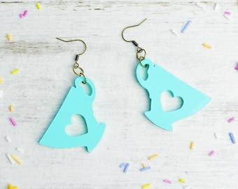 Mint Tea Lover Earrings | Nickel Free Dangle Earrings | Laser Cut Statement Jewellery | Pastel Mint Green Tea Lover Gift