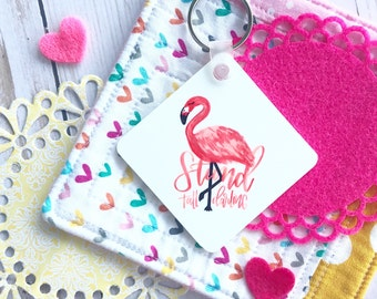 Oops! Minor misprint - Stand Tall Darling - Hand Lettered Watercolor Coral Flamingo Acrylic Key chain, Encouragement, Gift under 10, Be You