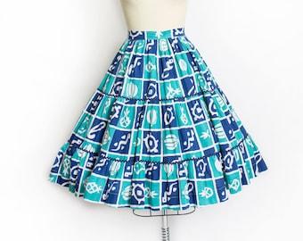 Vintage 1950s Skirt - NOVELTY Print Cotton Fish Skirt Blue Green Ric Rac- Small