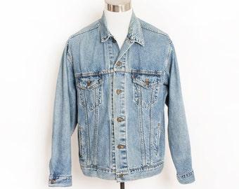 """Vintage LEVI'S Denim Jacket - 1990s Blue Jean Jacket 1980s - Large 48"""""""