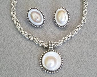 Stephen Dweck Mabe Pearl Sterling Necklace & Earring Set Vintage Rare Retired 160 Grams!
