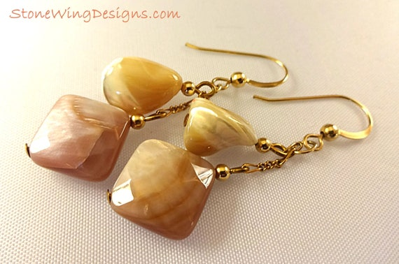 Natural and Pink Mother of Pearl Earrings