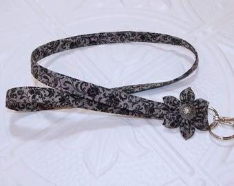 Lanyard - Id Badge Holder - Id Holder - Key Lanyard - Teacher Lanyard - Fabric Lanyard - Keychain - Lanyard With Flower