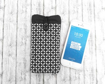 Phone Cover case fabric wallet, Phone sleeve with elastic and pocket black and white optica, fabric