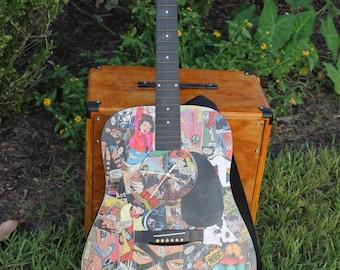 Vintage Fender Guitar Comic Book Working Clock, Clock Guitar, Comics