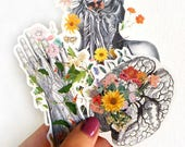 Anatomy stickers set,hand detail, Brain with flowers, Neck Veins Study laptop stickers,Decal sticker Medical student STC011