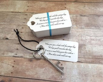 "Wedding Favors for Guests - Skeleton Key BOTTLE OPENERS + ""Poem"" Thank-You Tags – Ships from USA - Antique Silver - Eliza Style"