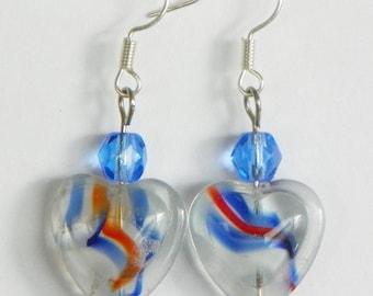 Heart Earrings red white and blue earrings patriotic earrings red earrings blue earrings 1 inch earrings dangle earrings drop earrings