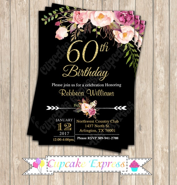 60th Birthday Invitation Decorations