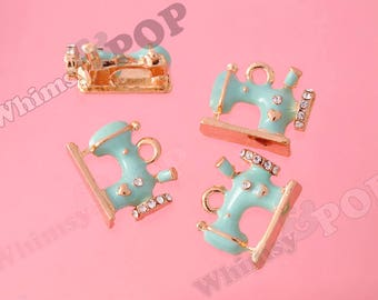 1 - Gold Tone Crystal Rhinestone Sewing Machine Charms, Sewing Machine Charm, 13mm x 16mm (R6-062)