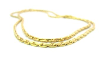 Gold Tone Layering Necklace. Long Monet Boston Link Chain. Two Strand Choker. Flattened Cable. Vintage 1980's Fashion Jewelry