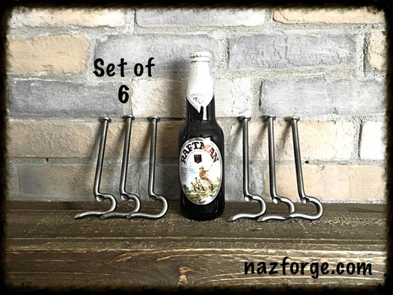 GROOMSMEN GIFT Set of 6 Bottle Openers made from a Large Nail- Personalized Option Available - Forged by Naz - Unique Cool Best Gifts Men