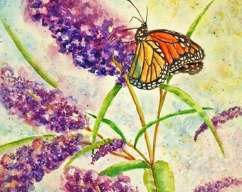 """Butterfly and Purple Flowers Original Watercolor Painting, Monarch Butterfly, Purple Butterfly Bush, Botanical, matted to 11"""" x 14"""""""