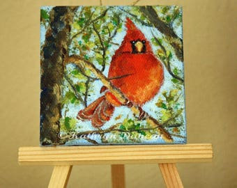 """Red Cardinal Bird - Original Acrylic Painting - small painting, 3x3"""", Spring, summer, red, blue, green, brown"""