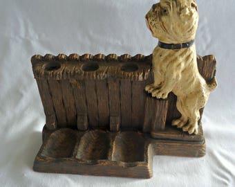 Vintage Cigar Holder Bulldog Syroco Wood