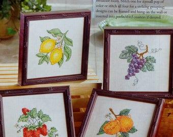 Cross Stitch Pattern | FRUIT QUARTET | Coasters | Angela Pullen | Counted Cross Stitch Pattern | Chart | fam