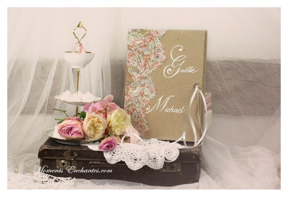 """wedding Guest book """"Nuage de Dentelle"""" lace from France french lace  with your name Personalized"""