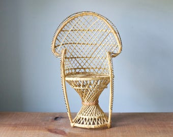 Vintage Miniature Rattan Peacock Chair | Mini Wicker Doll Furniture, Boho Jungalow Plant Stand