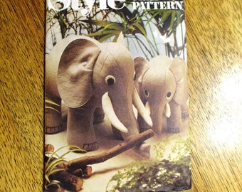 CUTE Elephant Toy / Soft Sculpture Stuffed Animal / Perky Pachyderm - UNCUT Vintage Sewing Pattern Style 2052