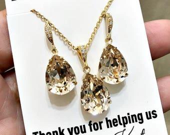 Champagne Bridal Earrings Gold Teardrop Bride Necklace Swarovski Crystal Light Silk Wedding Jewelry Pastel Bridesmaid Gift Wedding Earrings
