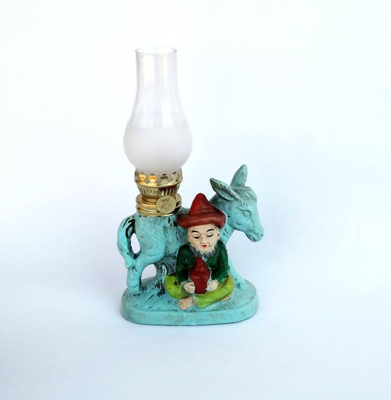 Vintage 1960's Oil Lamp with Donkey and Bearded Dude