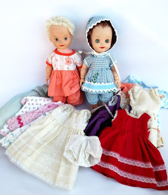 Vintage 1960's Allied Eastern Dolls - Set of 2 Plus 17 Pieces of Clothes