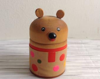 Wood Bear Figure Trinket Box.  Made in The USSR.   Vintage 1980, Modernist. Mod, Mid century,