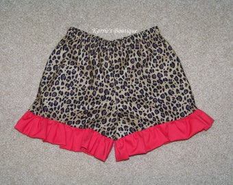 Boutique Ruffle Shorts or Pants / Cheetah & Red / Leopard / Minnie Mouse / Disney / Birthday / Newborn / Infant / Baby / Girl / Toddler