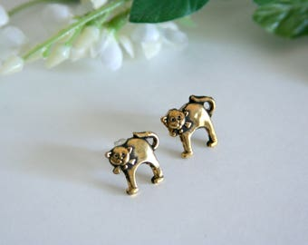 Gold Cat earrings Golden Kitty post studs bow ties - Made with small buttons